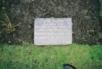 The first memorial plaque to the victims of Deir Yassin: Kelvingrove Art Gallery and Museum, 9-4-88.