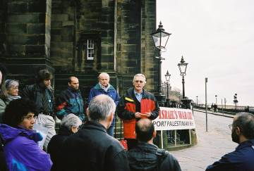 Daniel McGowan presenting a petition to the Scottish Parliament 4/5/01.